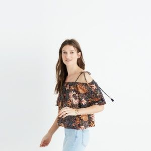 nwt madewell silk cold-shoulder top in sea floral
